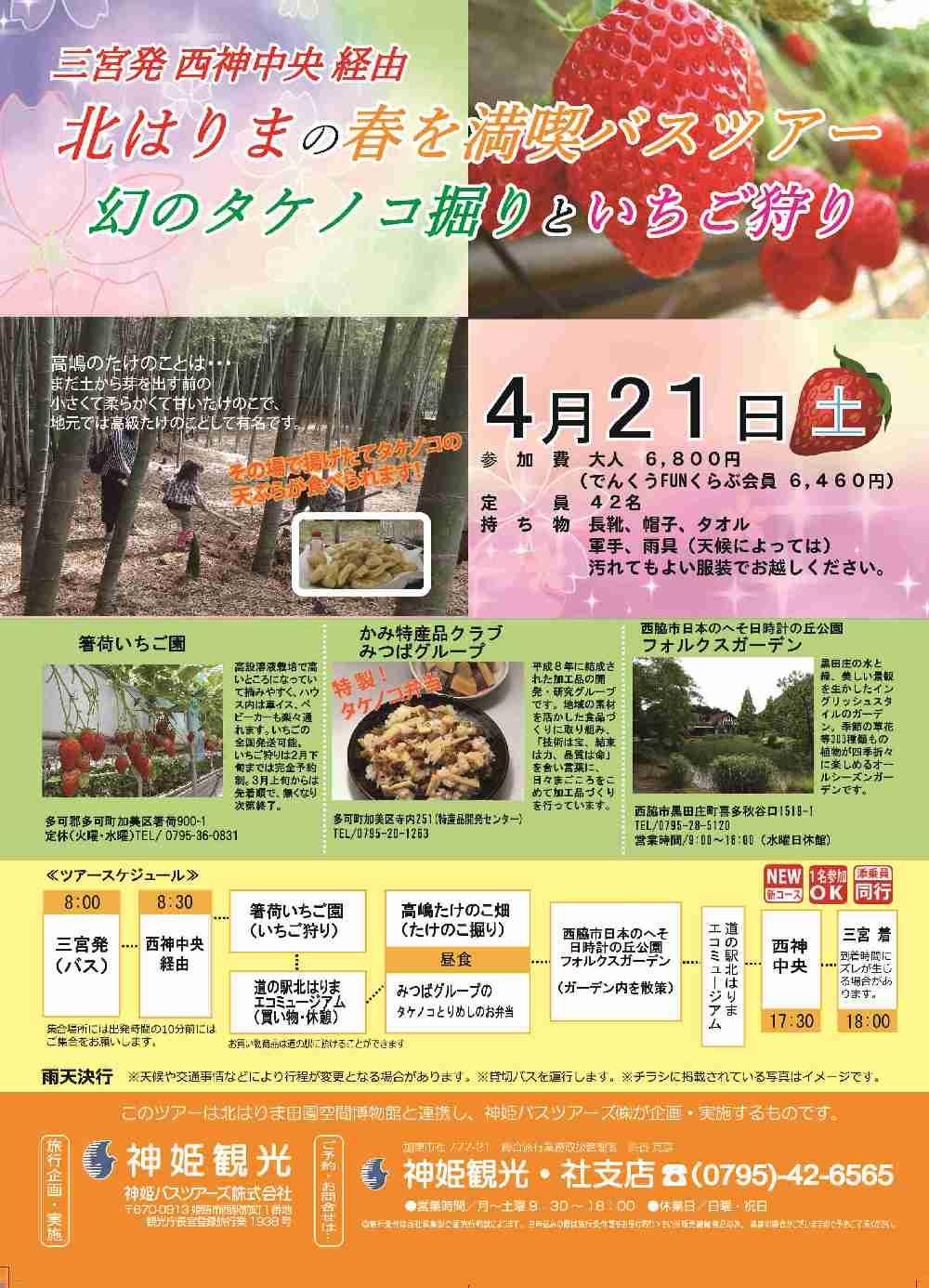 4/21 三宮発バスツアー「タケノコ掘りとイチゴ狩り」参加者募集