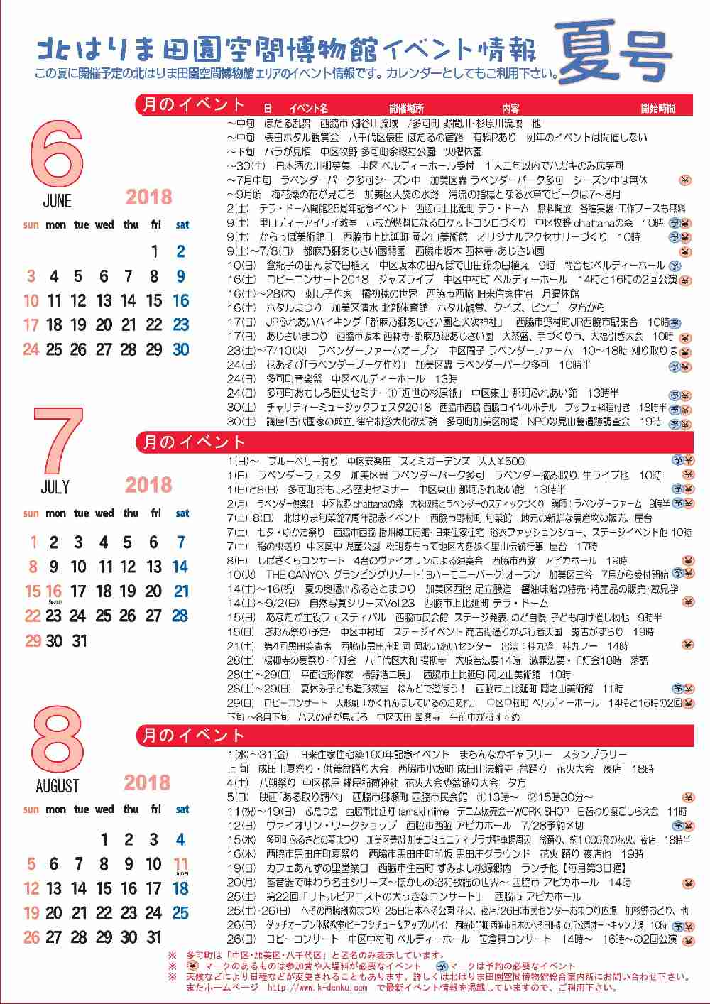 2018夏の見てみてガイド&イベントカレンダー