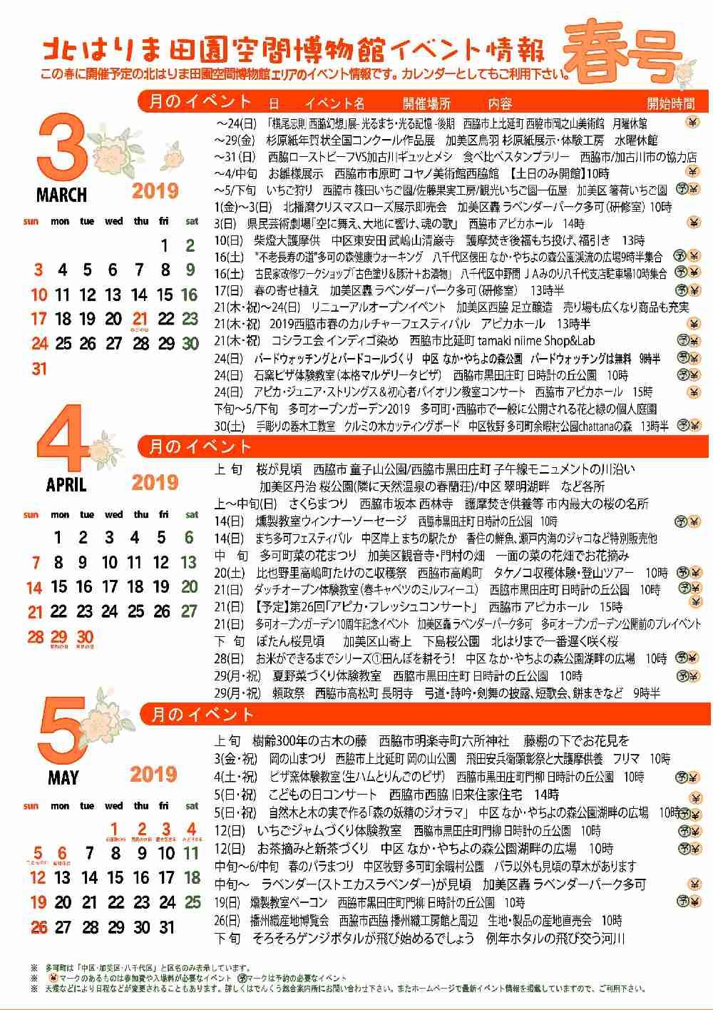 2019春の見てみてガイド&イベントカレンダー