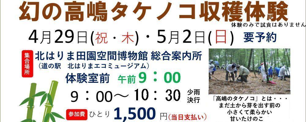 4/29・5/2 高嶋タケノコ収穫祭